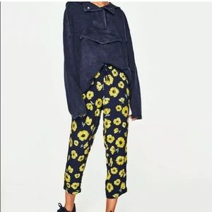 Zara floral joggers pants high rise